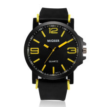 MIGEER Men's Sports Silicone Strap Wrist Watches Mens Top Brand Black Dial Quartz Analog Watch Male Clock Life Waterproof #Ni(China)