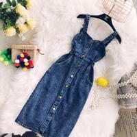 jean Sling Dress 2018 New Retro Korean Style Single breasted High waisted Denim Woman Knee Length Sexy Party Dresses