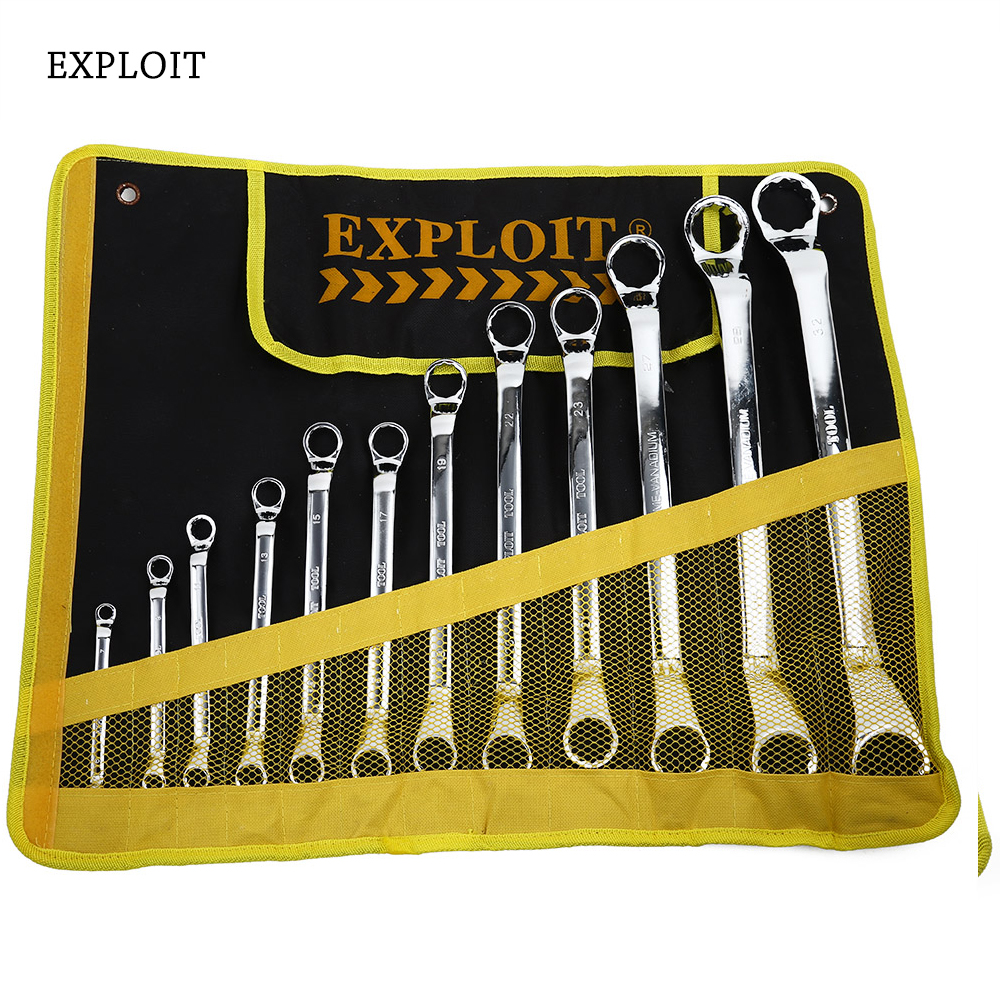 Exploit High Quality Durable Double-end Ratchet Wrench Set 72 Tooth Drive Technology Auto Repair Tool chrome vanadium steel ratchet combination spanner wrench 9mm