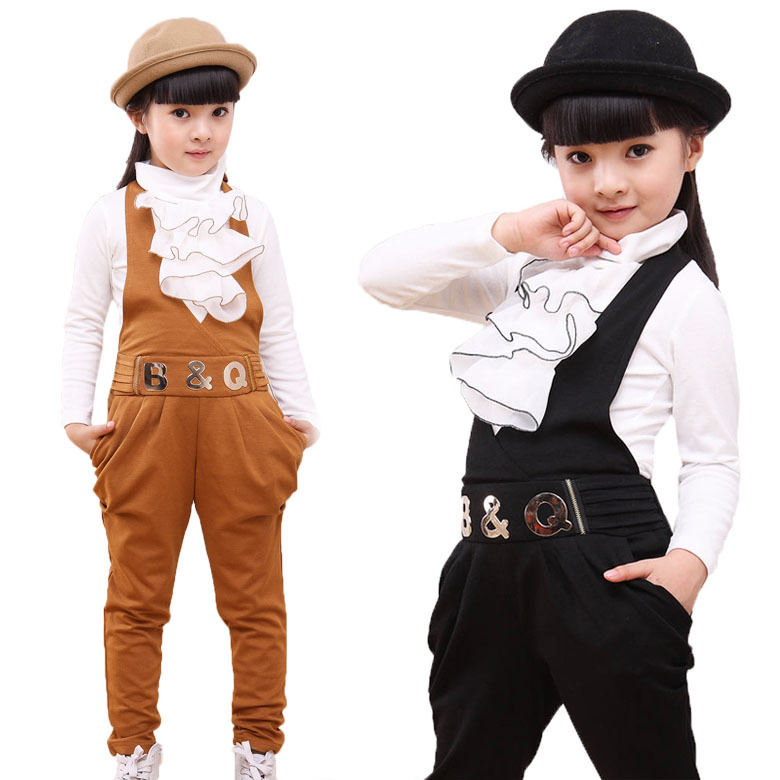Kids clothes girls clothing sets 2016 autumn children casual long-sleeve T-shirt & Overalls sport suits baby kids clothes set casual autumn baby children kids infants girls long sleeved t shirt tops overalls bib long pants 2pcs clothing set suits mt989