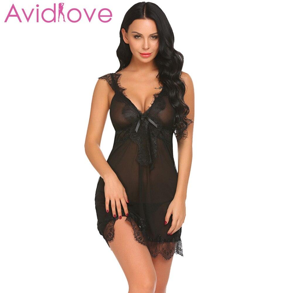 Buy Avidlove Women Sexy Lingerie erotic Underwear Costumes Babydoll Sheer Set Lace Patchwork Nightwear G-string