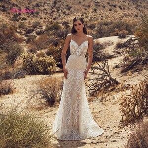 Image 2 - Vestido De novia de lujo De sirena Encaje Vintage, novedad del 2019 en Vestido de novia sexi con cuello en V y espalda descubierta