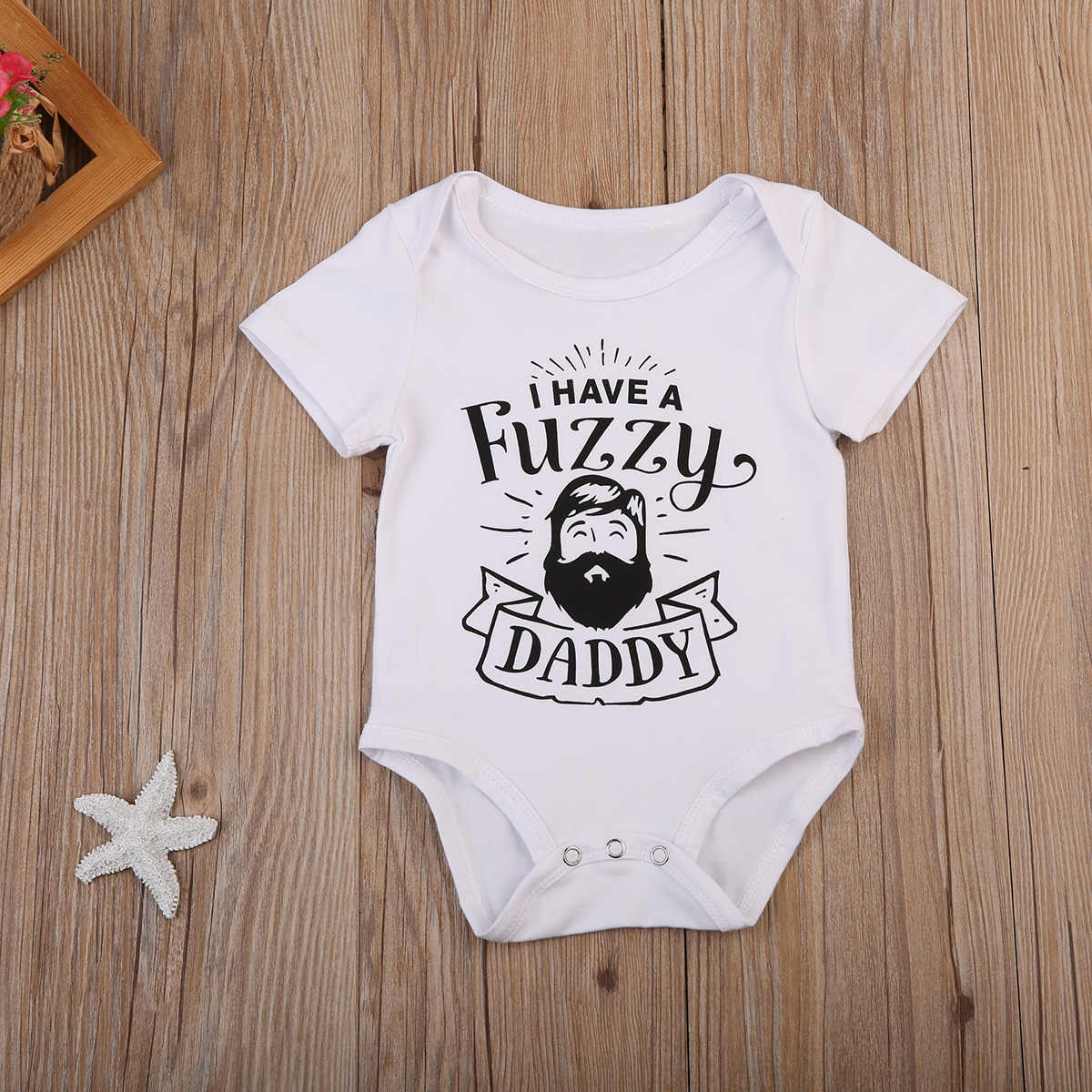 Precioso pelele para bebé de 0 a 24 meses, Pelele de algodón para niño de manga corta, ropa blanca borrosa para papá, mono, ropa Casual, atuendo