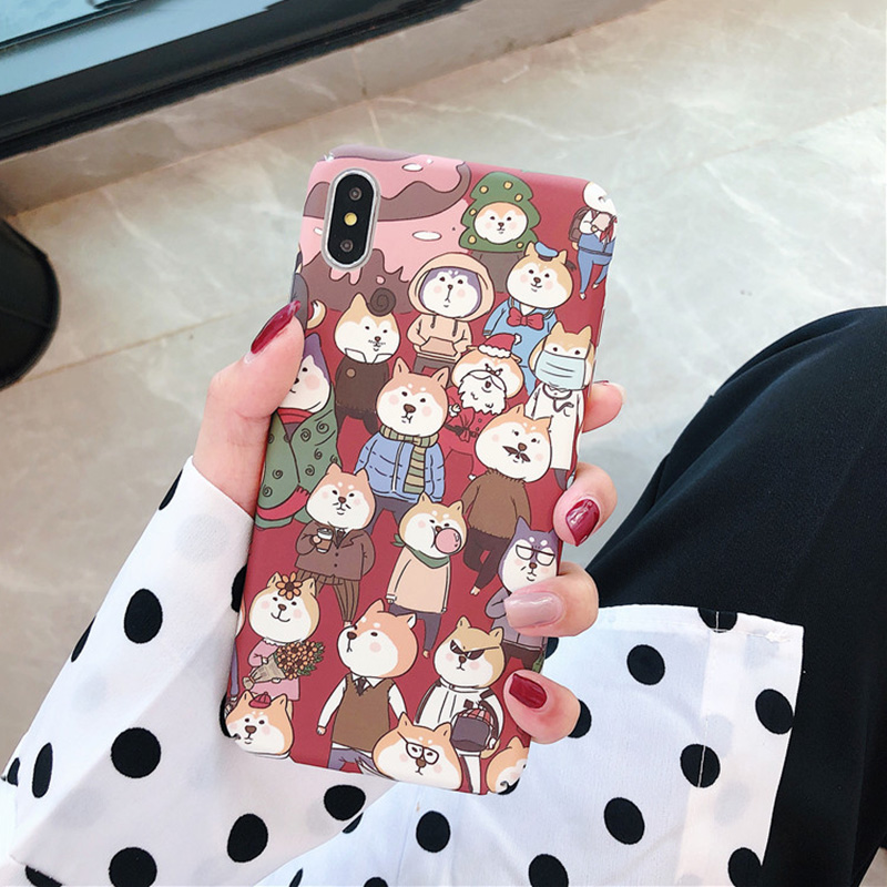 KIPX1098_6_JONSNOW All-inclusive Phone Case for iPhone XR XS Max 7 8 Plus 6 6S 6 Plus Funny Cute Dogs Chick Duck Pattern Hard PC Back Cover Capa Fundas
