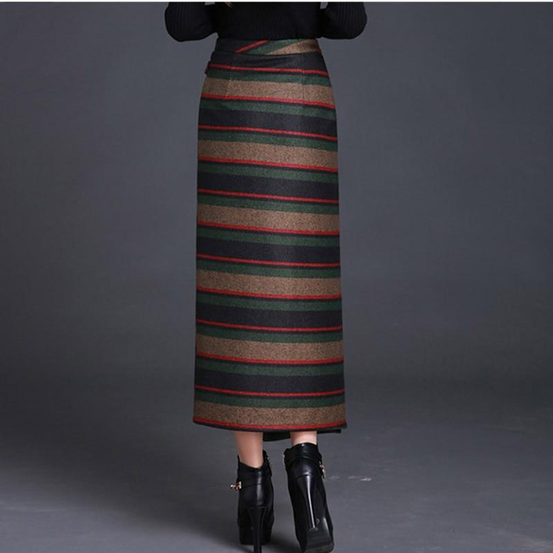 Oficina Irregular 2019 A Borgoña Paso Invierno Coreana Falda Mujeres Dama Lana Elegante Otoño Rayas Grueso Moda De Nueva Nw1102 vqr8v6xw