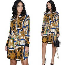 Spring Long Sleeve Blouse Shirt Dress With Belt Women Multi-Color Print Midi Dress Retro Tunic Casual Office Work Vestidos empire waist tunic blouse with tribal print