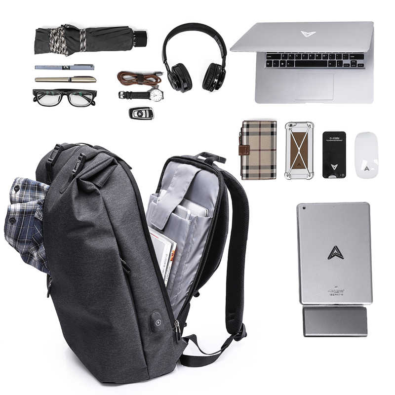 42d207fc5 ... KAKA Mens Women Backpack Bag Laptop Waterproof Anti theft Travel  Backpacks with USB Charging port Male ...