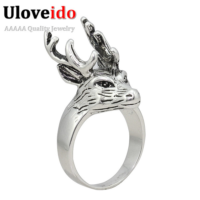 Uloveido 15% off Vintage Rings For Women Big Size Men Finger Deer Animal Ring Fashion Silver Color Jewelry Christmas Gift PJ004