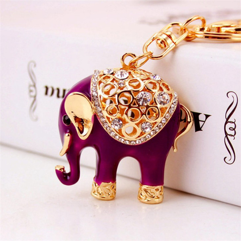Նոր Cute Elephant Animal Keychains Car Keyring Fashion Key Chain Metal Key Ring Ring Holder Հուշանվերներ Նվերներ Նորություն Trinket Wholesale