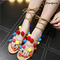 2016 New Pom Gladiator Sandals Woman Rome Lace Up Cross-tied Shoes Woman Summer Designer STARFARM-SFDX-014