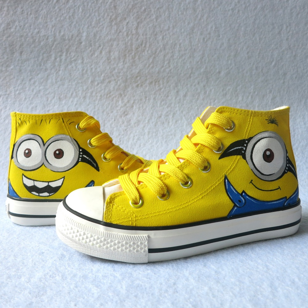 a77e69546f New Kids Custom Cartoon Anime Figure Despicable Me Minion Shoes Boys Girls Hand  Painted Canvas Shoes Children Casual Shoes -in Sneakers from Mother   Kids  ...