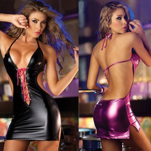 Q400 Women sexy lingerie PU leather robe sexy exposed back deep v-neck nightclub pole dance dress erotic underwear porn costumes