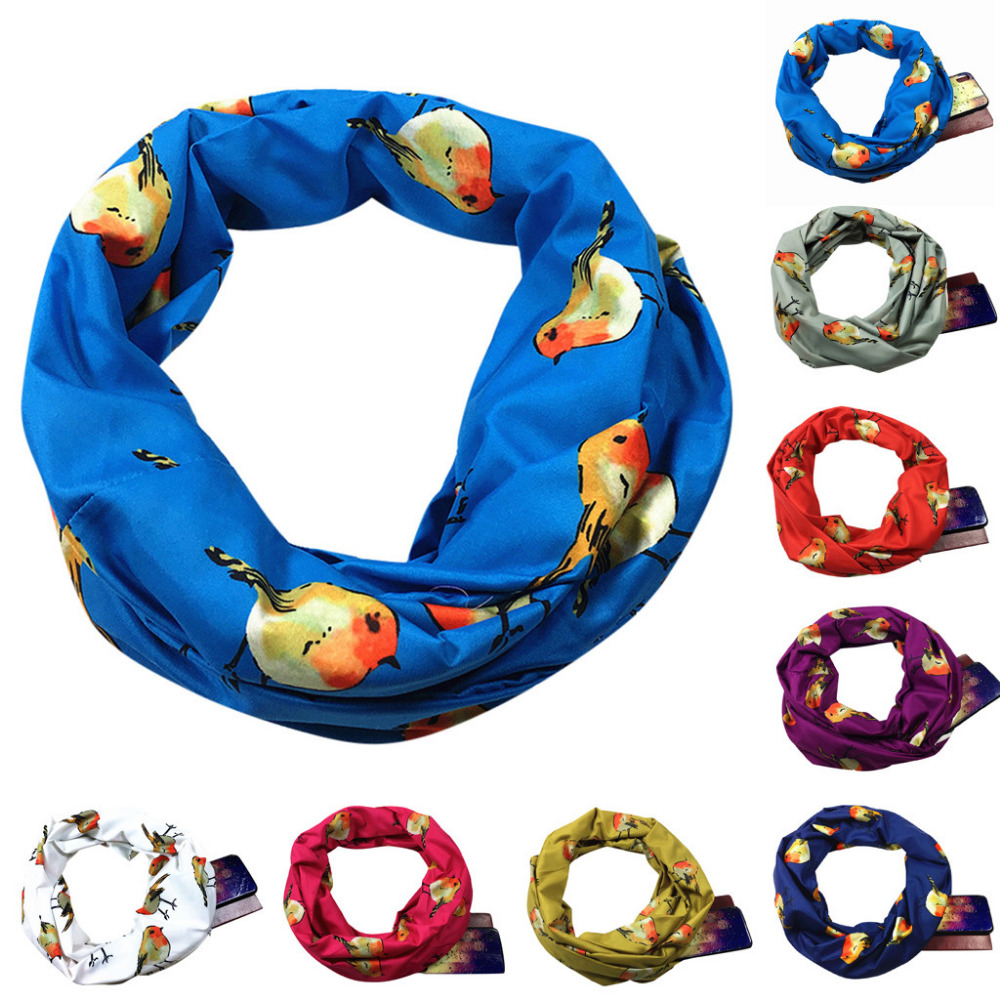 Women Loop   Scarf   Infinity   Wrap   Hidden Zipper Pocket Warm Travel Couple   Scarves