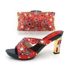 Artikel-nr. MKD-441 ROT! Ich! Shinning Steine Frau Schuhe Pumps Passende Bag Afrikanische Partei Schuhe Und Tasche Set Für Jahrestag