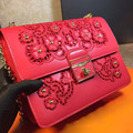 The new spring and summer 2016 openwork embroidery nail package Imported Leather Fashion Leather Shoulder Messenger Bag 24CM
