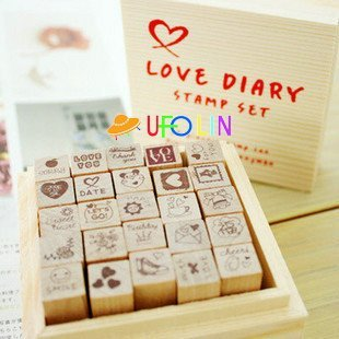 c31-90 Free Shipping/New wooden Love diary stamp set/DIY stamp/wood Box/gift stamp/Wholesale