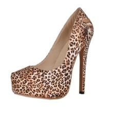 Leopard Women Pump Platform Ladies Shoe Cover Heel Slip-on Extra High Heel Fashion Designer Women Shoes Plus Size EU43