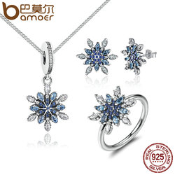 BAMOER 925 Sterling Silver Crystalize Snowflake Blue Crystals Clear CZ Bridal Jewelry Sets Sterling Silver Christmas Gift ZHS006