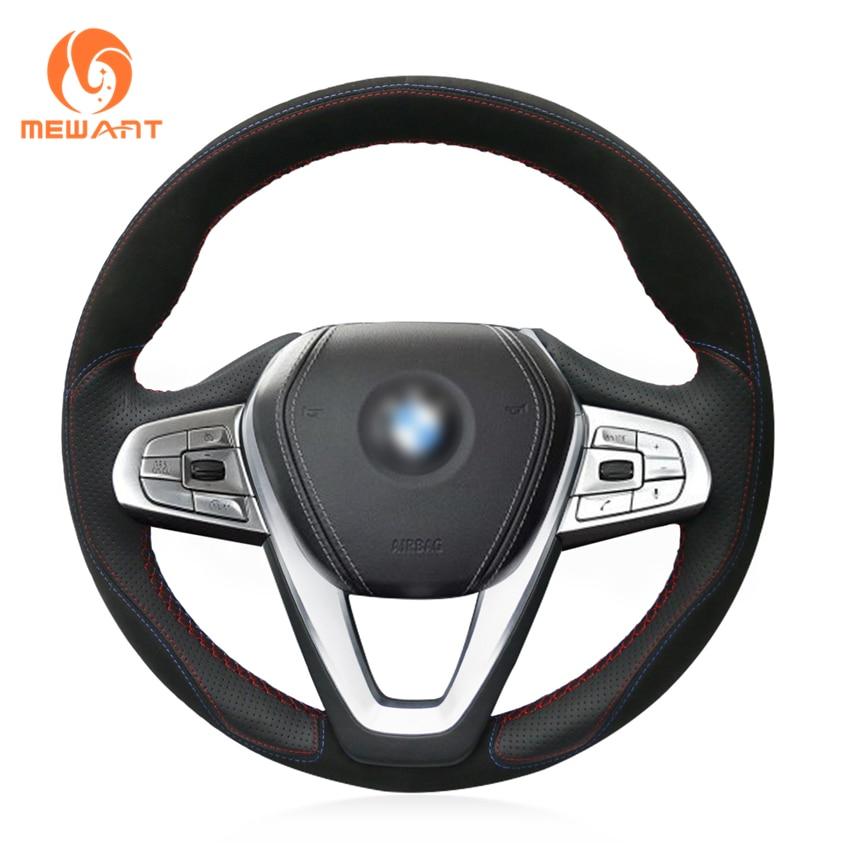 MEWANT Black Leather Black Suede Car Steering Wheel Cover for BMW G30 530i 540i 520d 530e 2016-2018 G32 GT 630i 630d 2017-2018 mewant black genuine leather car steering wheel cover for bmw e46 e39 330i 540i 525i 530i 330ci m3 2001 2003