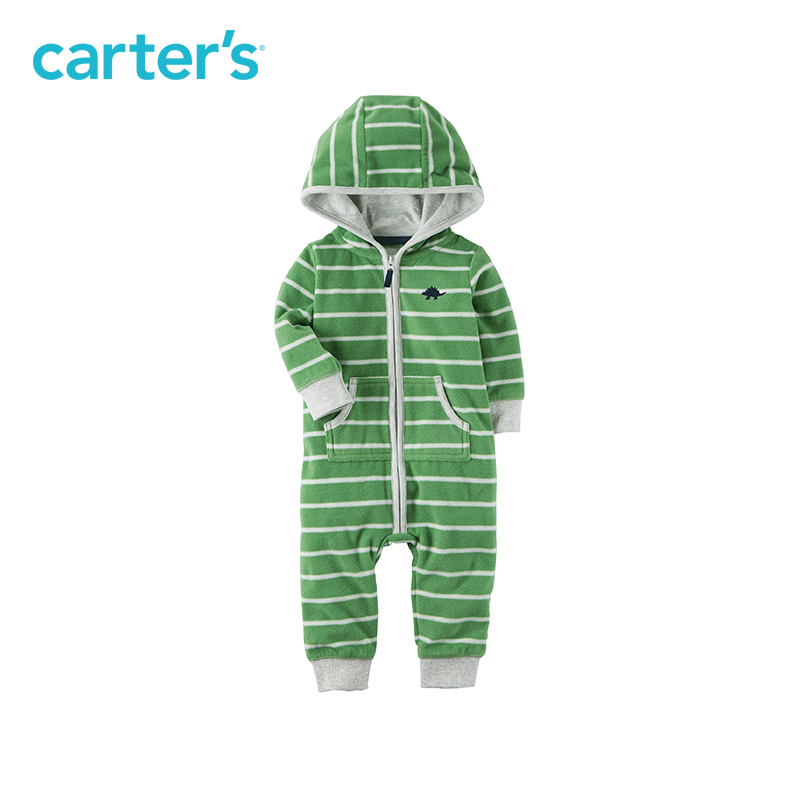 Striped cute dinosaur embroidery cozy hooded zip-up Jumpsuit one-piece Carter's baby boy clothing fall spring 118H685
