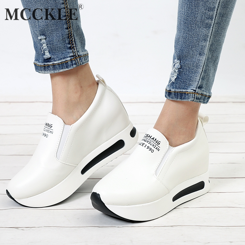 MCCKLE Women Creepers Autumn Increasing Height Shoes Casual Slip On Moccasins Platform Wedge Heel Fashion Elastic Band Footwear mcckle women ruffle vulcanized shoes plus size autumn sneakers platform slip on loafers elastic band casual moccasins for ladies