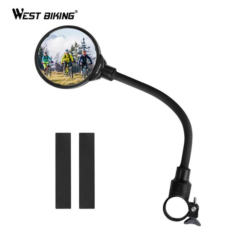 WEST BIKING Bike Rearview Mirror Handlebar Mirror MTB Road Bicycle Motocycle Flexible Adjustable Cycling Rear View Mirror 1 PC