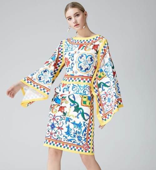 1cee60fa6f5f New 2018 summer brand fashion women girls sicily lemon tile patterns print  dress Japan style flare sleeve sexy dresses blue
