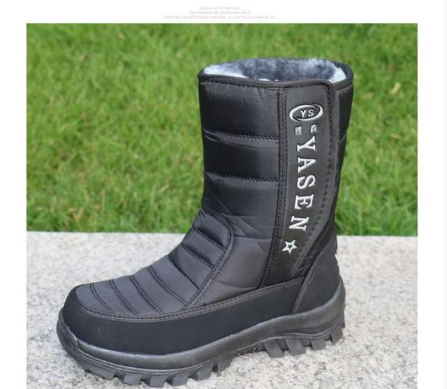 2016 Осень зима мужская среднего теленок снег сапоги черного цвета плюшевые теплый меховой зимняя мужская обувь плюс размер 39-45 Унисекс boots48