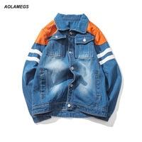 Aolamegs Men Denim Jacket Coat Hot Style Japan Cowboy Jacket Coat Men Plus Size Long Sleeve