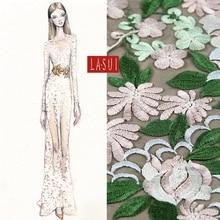 Lasui Multicolor computer embroidered fabric lace  cloth dresses 3D pretty Evening dress Plant pattern