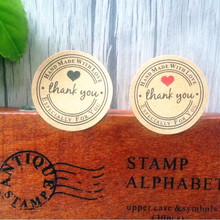100pcs/lot Round 35mm Cowhide Thank You Three Color Sealing Seal Kraft Sticker For Baking Gift