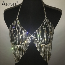 Fashion Camisole Sequined Rhinestone Metal Chain Bra Hollow Out Party Crop Tops Summer Night Club Tank Tops