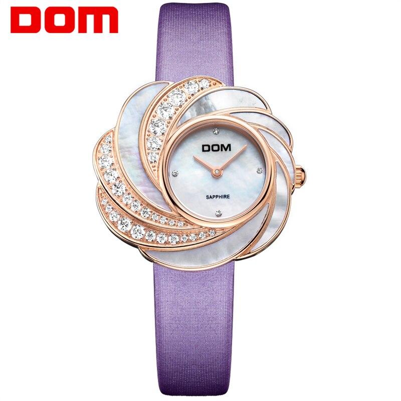 DOM montres pour femmes Quartz bracelet en cuir montres femmes Top marque de luxe horloge en cristal dames montre-bracelet Relogio Feminino G-655