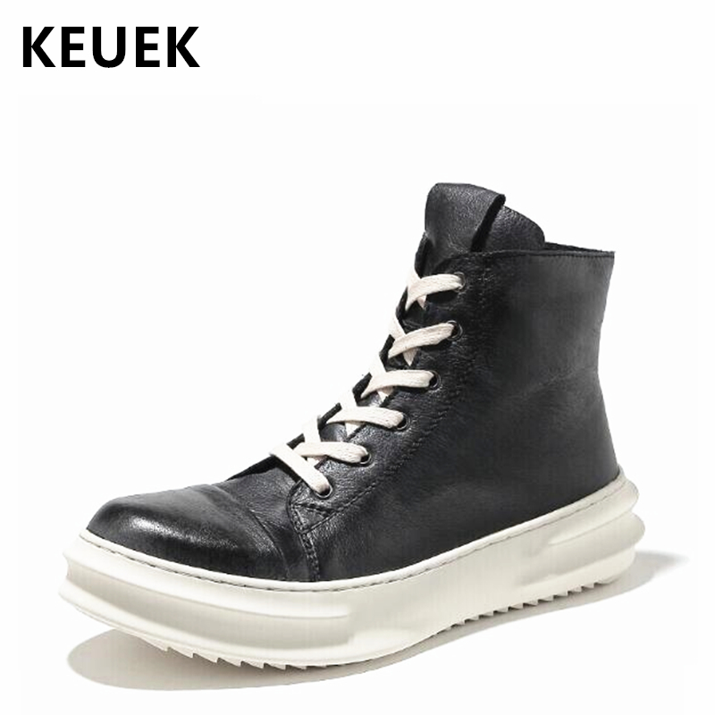 Autumn Winter Fashion Men Motorcycle boots Lace-Up High-top shoe Genuine leather Ankle Martin boots Youth popular shoes 02C merkmak genuine leather men ankle boots vintage lace up high top shoes fashion winter autumn warm martin boots casual outdoor