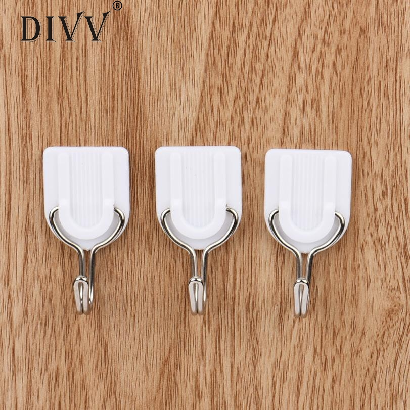 6PCS Strong Adhesive Hook Wall Door Sticky Hanger Holder Kitchen Bathroom White Powerful Levert
