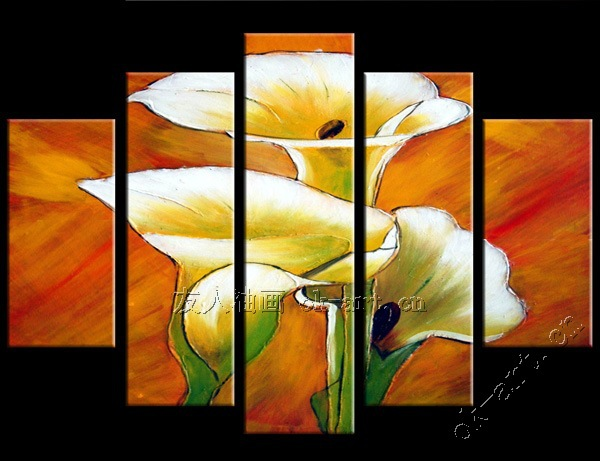 Handmade Abstract Oil Painting White Calla Flower Drawings