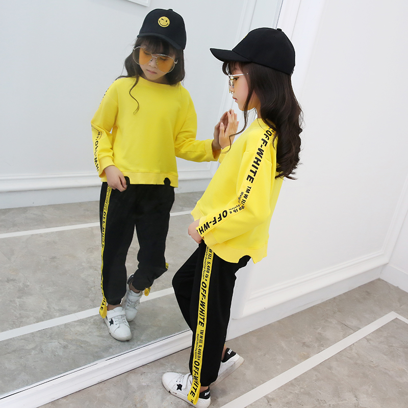 Sun Moon Kids Baby Clothes 2 Pieces Solid Long Sleeve T Shirt Child Clothes Loose Letter Ribbon Pants Girls Clothes sun moon kids boys t shirt summer