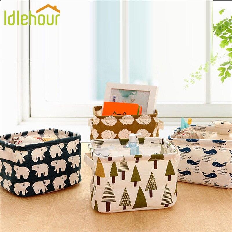 Storage Basket Box DIY Desktop Folding Linen Toy Storage Bag Pastoral Floral Animal Jewelry Makeup Organizer Neatening Box