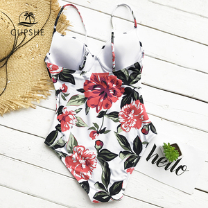 Image 3 - CUPSHE Floral Printing One piece Swimsuit Women Adjustable Push Up Heart Neck Monokini 2020 Sexy Beach Bathing Suits Swimsuits