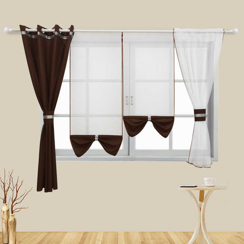Flying Tulle Curtains Blue Modern Sheer Fabrics Home Textile kitchen Door White Curtains Short Curtains Living Room Window 4PCS