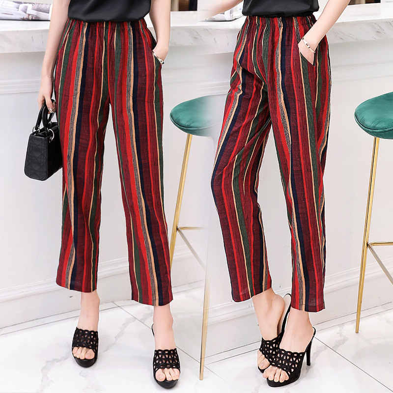 f131c246ac ... Casual Women Trousers 2019 Summer Ankle-Length Harem Pants Fashion  Striped Print Cotton Linen Elastic ...