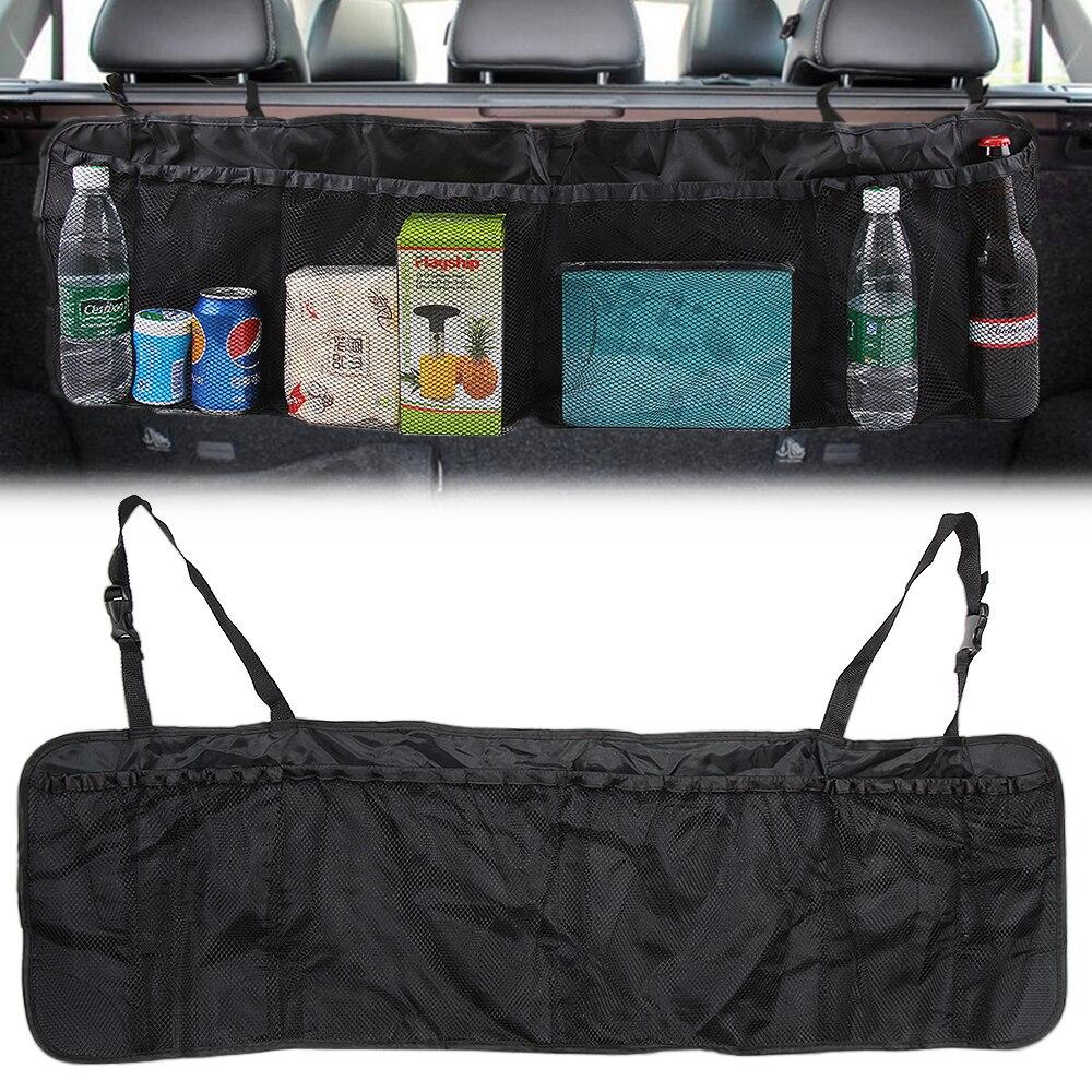 Suv carro tronco assento de volta saco organizador banco traseiro ajustável saco de armazenamento net grande capacidade dobrável auto estiva tidying acessórios