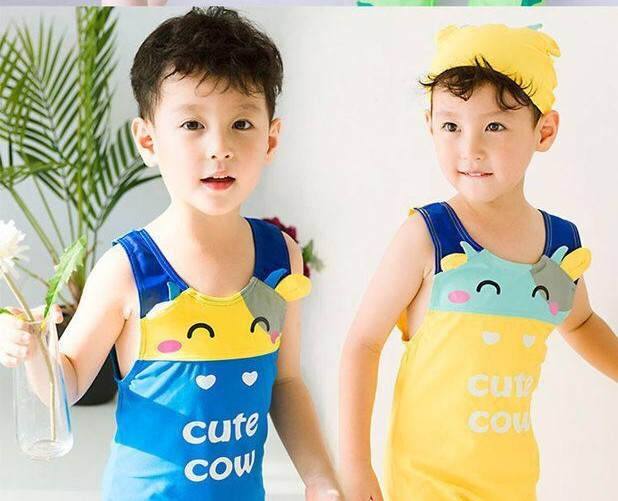 Nyan Cat Baby boys summer Cute Cartoon cow animal swimsuit+hat set 2 colors infant toddler kids children Spring Clothing
