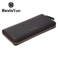 KEVIN YUN Designer Brand Men Wallets Genuine Leather Long Zipper Purse Male Clutch Wallet