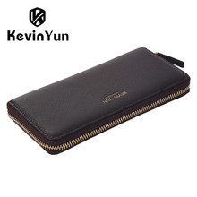 KEVIN YUN Designer Brand Men Wallets Genuine Leather Long Zipper Purse Male Clutch Wallet