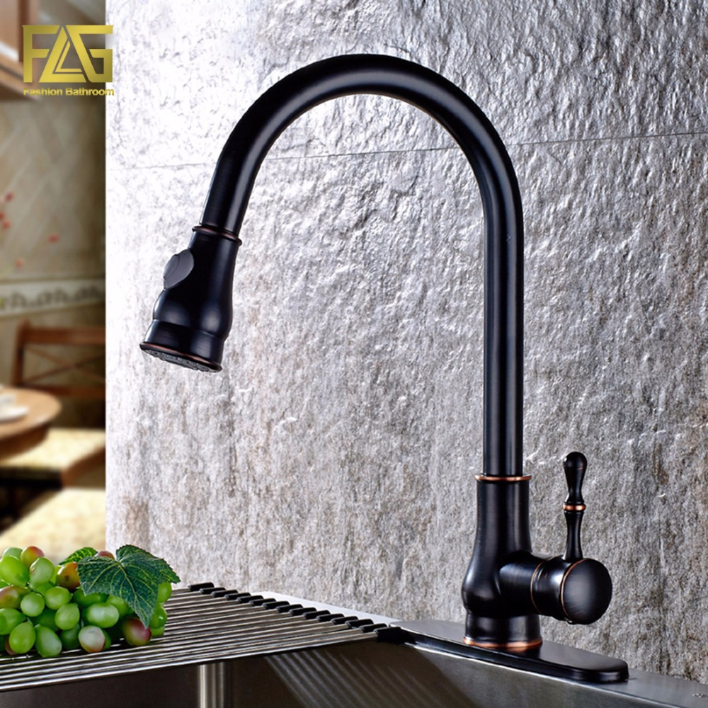FLG Black Kitchen Washing Taps Deck Mounted Single Hole With 3 Hole Cover Plate Oil Rubbed Bronze Kitchen Mixer Faucet Tap C048O black oil rubbed bronze wall mounted toothbrush holder with two ceramic cups wba143