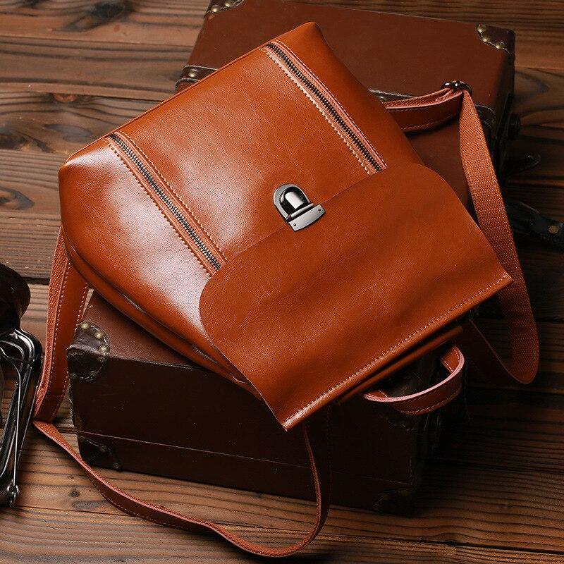 2017Genuine Leather Vintage backpack women bag oil wax Cowhide backpack casual shoulder School Bag High capacity Travel Backpack