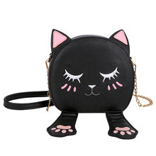 Artificial Leather Cute Cat Round Small Lady Shoulder Crossbody Bags Embroidery Mini Women Bag for 2019(China)