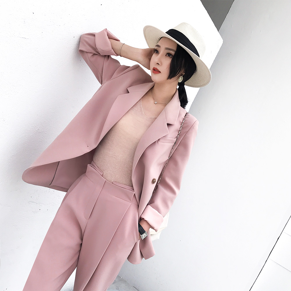 Blazer+ Long Radish Pant Bloomers 2 pieces Sets Casual Sweet Girls Women's Pant Suits Pink Beige Black