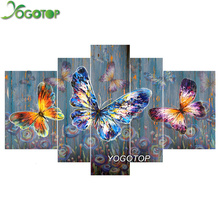 YOGOTOP DIY Diamond Painting Cross Stitch Kits Full Diamond Embroidery Colorful butterfl 5D Diamond Mosaic Needlework 5pcs ML114 yogotop diy diamond painting cross stitch kits full diamond embroidery 5d diamond mosaic needlework muslim 5pcs ml167
